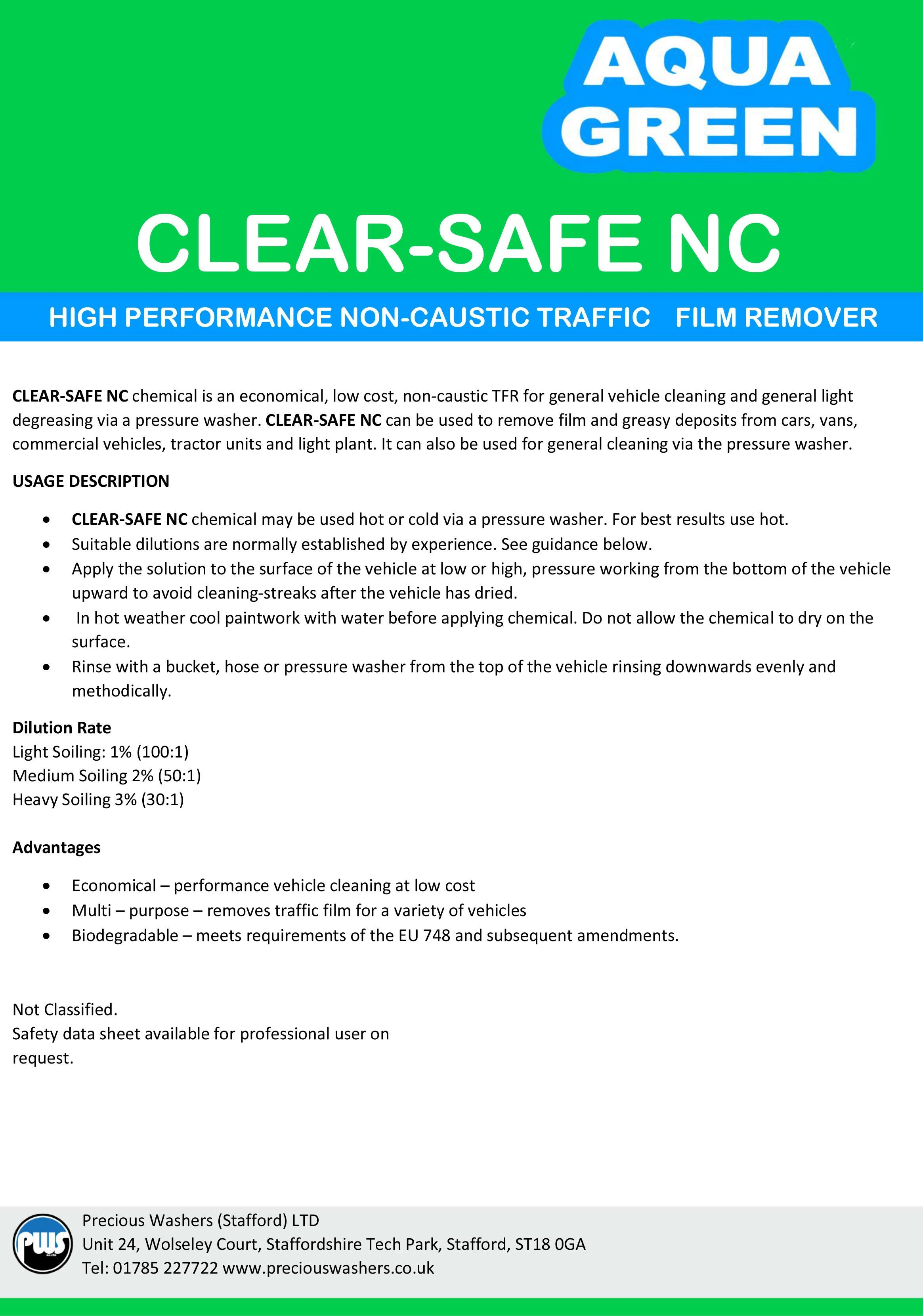 clear safe nc label